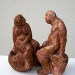 Eva u. Adam I 2017 I Terracotta bemalt I Höhe 15 cm