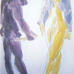 Begegnung I 2008 I Aquarell  Bleistift I 20 x 15 cm