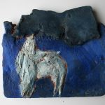 Selene, Relief I 2001 I Terracotta bemalt I Länge 20 cm