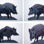 Wildschweine I 2013 I Pappe und Holz bemalt I Höhe 10 cm